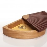 Fantales Jewellery Box with swivel top. Available in different timber combinations with coloured macro-suede lining.