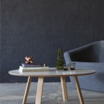 Wonton Coffee Table. American Oak with white HPL top and exposed Birch ply edge. D1000 x 390mm Photo- Bo Wong