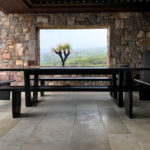 Custom designed Outdoor table and bench seating in ebonised Jarrah. Coastal Property Injidup Western Australia