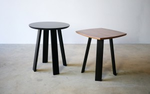 Wanton Side Table/ Stool in Walnut and Ebonised Jarrah D400 x 460mm