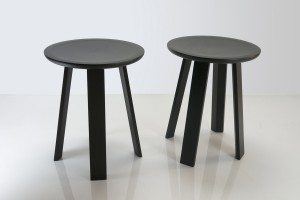 Ebonised Jarrah Stool. D-360mm x 450h. Dished seat