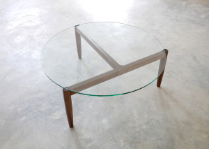 321 Coffee table in American Walnut. D1100 x 390mm