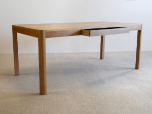 Irvine Desk in solid American White Oak. 1800 x 900 x 740mm. Finger jointed, leather lined drawer.