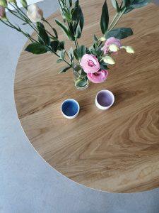 Wonton Coffee Table. Solid American Oak Top Detail
