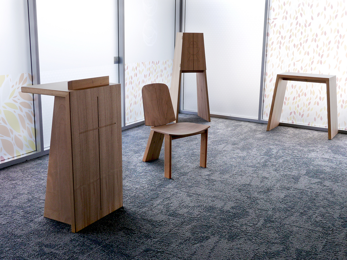 Custom Design liturgical furniture for Vinnies WA state headquarters in Canning Vale, Perth. Alter, Lectern, Tabernacle, Chair and Table in WA Blackbutt timber.