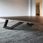 SPG Boardroom Table. Ebonised Jarrah and American Walnut. 6200 x 3200/1600 x 740mm