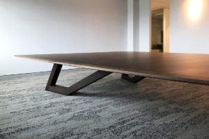 SPG Boardroom Table. Ebonised Jarrah and American Walnut. 6200 x 3200/1600 x 740mm
