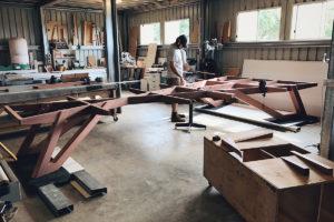 Workshop Progress. SPG Boardroom Table. Ebonised Jarrah and American Walnut. 6200 x 3200/1600 x 740mm