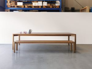 Irvine Dining Table, Handcrafted in Solid American Oak. 3000 x 1100 x 740mm with matching custom bench seat
