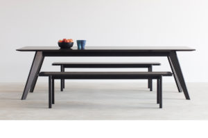 Mel Bench Seat. Handcrafted in American Oak with Ebonised Finish 1800 x 400 x 450mm