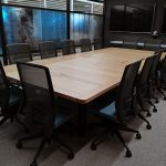 DWER Joondalup, Western Australia. In collaboration with MKDC. Salvaged WA Blackbutt 10 Pax meeting Table. 3750 x 1700 x 740mm