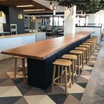 DWER Joondalup, Western Australia. In collaboration with MKDC. Staff Dining Table. Storm Fallen Wandoo with Live edge detail. Scorched Jarrah Base. 8000 x 1000 x 950mm