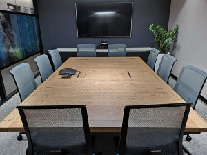 DWER Joondalup, Western Australia. In collaboration with MKDC. Salvaged WA Blackbutt 10 Pax meeting Table. 2900 x 1700 x 740mm