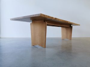 Forest House Dining Table. Handcrafted from French Oak Slabs with Live Edge detail. 3000 x 1050 x 740mm