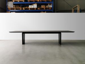 Morey Dining Table in Ebonised curly Jarrah. 3300(4000) x 1000 x 740mm