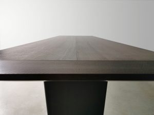 Morey Dining Table. Ebonised curly Jarrah. Breadboard End Detail