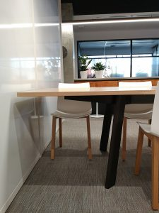 DWER Joondalup, Western Australia. In collaboration with MKDC. Solid Tasmanian Oak and Ebonised Jarrah, Informal office meeting table. 3400 x 900 x 740mm