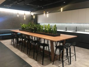 DWER Joondalup, Western Australia. In collaboration with MKDC. Solid Tasmanian Oak, High Tea prep table with custom fabricated planter boxes and living Garden. 4400 x 1400 x 950mm