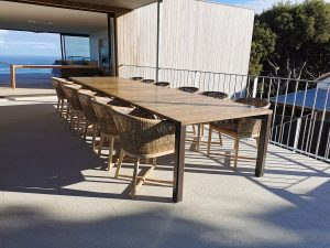 Custom Dining Table 4500 x 1200 x 750mm Powdercoated Aluminium base with solid Antique Oak Top. Yallingup Western Australia