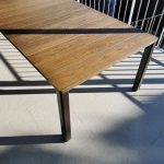 Custom Dining Table 4500 x 1200 x 750mm Powdercoated Aluminium base with solid Antique Oak Top. Yallingup Western Australia