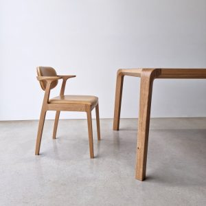 Kinross Dining Chair. Handcrafted in Solid American Oak with Verona Leather