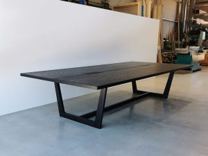 Custom Botanical Meeting Table, Handcrafted in American Oak with Ebonised finish. Integrated power and data. 3300 x 1600 x 740