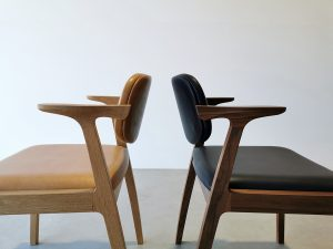 Kinross Dining Chair. Handcrafted in Solid American Oak and American Walnut with Verona Leather