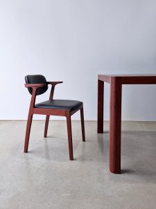 Kinross Dining Chair. Handcrafted in Jarrah with Premium Italian Leather