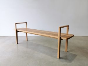 Mel Bench with custom arm detail. Handcrafted for the Shepparton Art Museum in Victoria