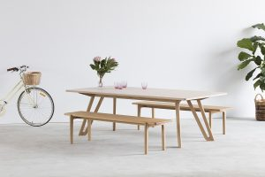 Quarterlight Table. Handcrafted in Solid American Oak